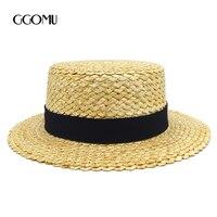 GGOMU Pani Wstążka Okrągły Flat Top Fedora Słomy Kanotier sun czapki Kapelusz Panama lato ZLH-116 straw hat snapback gorras kapelusze dla kobiet