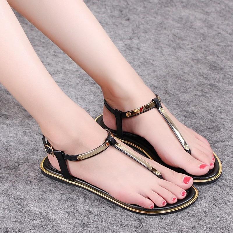 Nuevo 2018 zapatos de verano sandalias de mujer sandalias casuales de alta calidad sandalias planas zapatos de playa