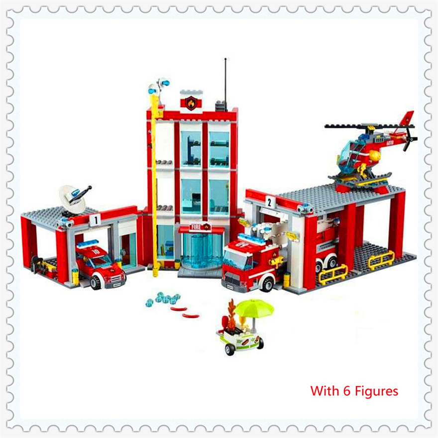 1029Pcs City Fire Station Fire Engine Helicopter Model Building Block Toys LEPIN 02052 Gift For Children Compatible Legoe 60110 gudi 9217 874pcs city fire station helicopter firemen building block diy educational toys for children compatible legoe