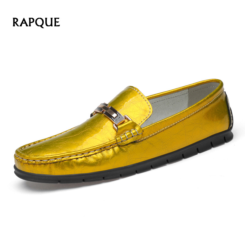 Soft genuine   leather   shoes men casual burnished flats fashion loafers men Horsebit high quality slip-on mans footwear gold gray
