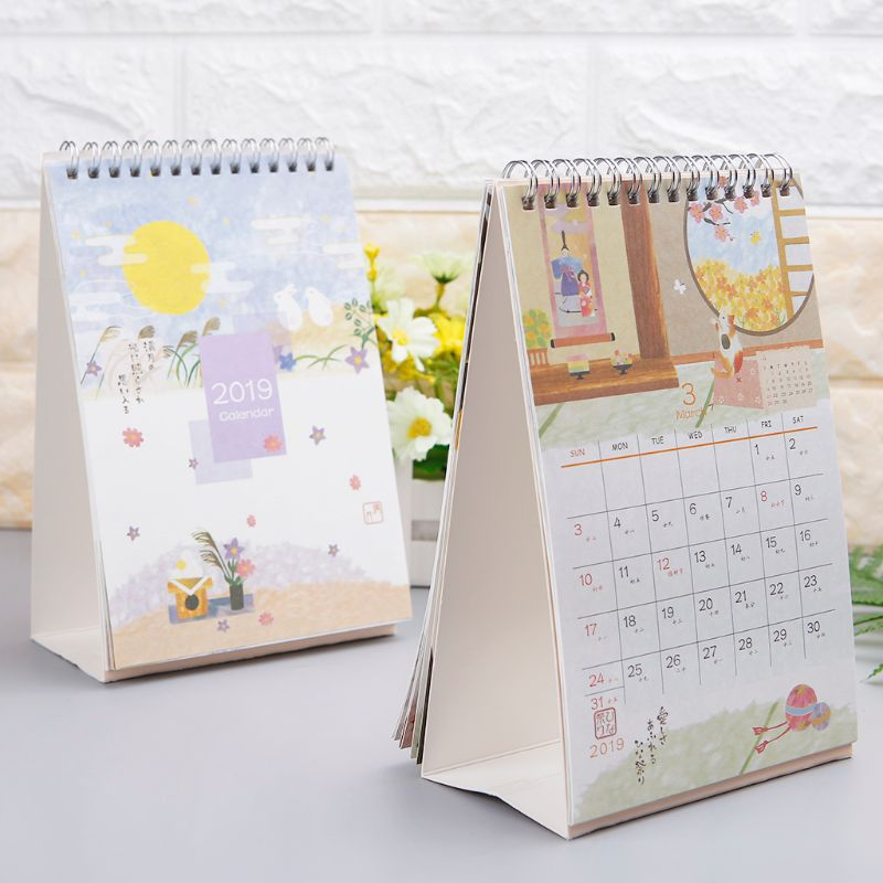 Japanese Style Desktop Standing Coil Paper Calendar Memo Daily Schedule Table Planner Yearly Agenda Organizer Calendars, Planners & Cards Calendar