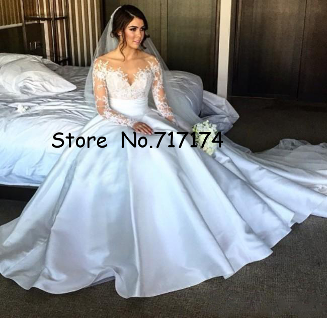 Gorgeous A-line Wedding Dresses Split Lace With Detachable Skirt 2 In 1 Long Sleeves Overskirt Bridal Gowns Illusion Back