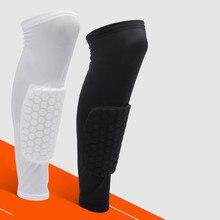 Football Shin Guards Protector Soccer Honeycomb Anti-crash Leg Calf Pads Compression Sleeves Cycling Running Shinguards цена