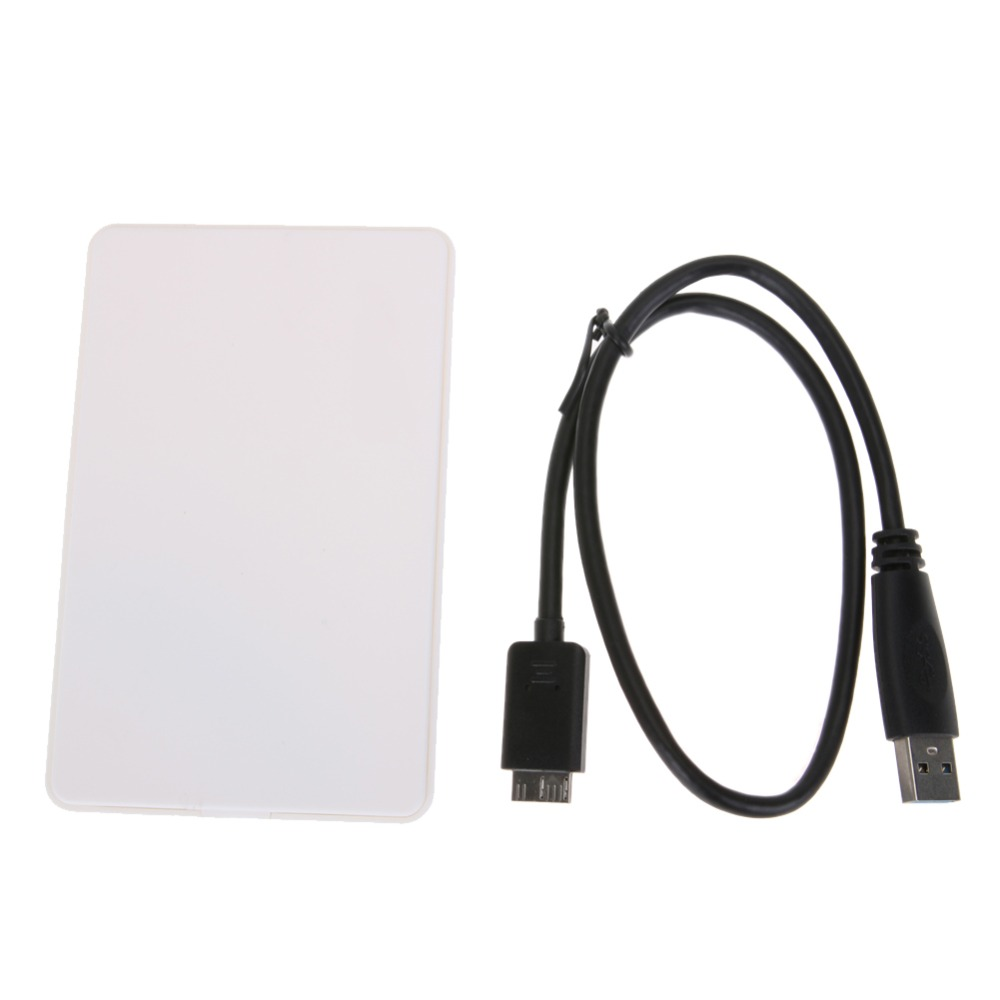 White 2TB Mobile HDD Enclosure Case 2.5