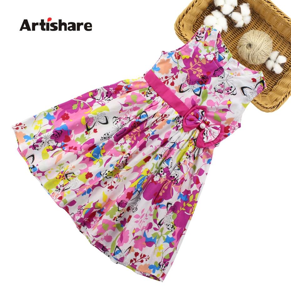Girls Dresses Summer Children Floral Dress 4 6 8 10 12 13 Year Bow Sleeveless Kids Dress For Girls Butterfly Girls Clothes