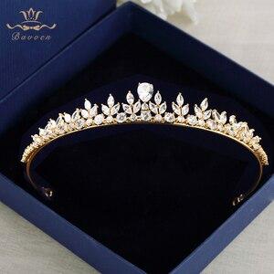 Image 1 - Bavoen Funkelnden Zirkon Hochzeit Kleid Haar Zubehör Gold Bräute Kronen Tiaras Überzogene Kristall Haarbänder Abend Haar Schmuck