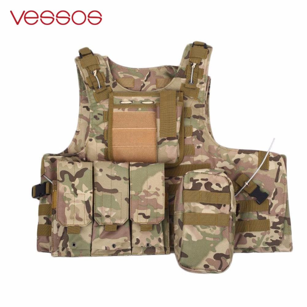 VESSOS Camouflage Hunting Military Tactical Vest Wargame Body Molle Armor Hunting Vest CS Outdoor Jungle Equipment