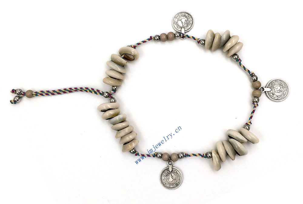 New Ethnic Jewelry Handmade Womens Barefoot Foot Jewelry Ankle Bracelet Antique Silver Coin Squirrels Anklet Summer Style