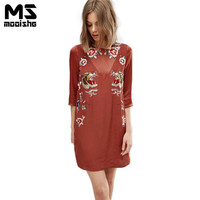 Mooishe Summer Tigh Embroidered Dress Women O Neck Half Sleeve Floral Embroidery Red Loose Casual Women