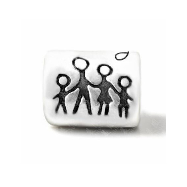 Punk Silver Color Peace Holding Hands Family Baeds Charms Fit