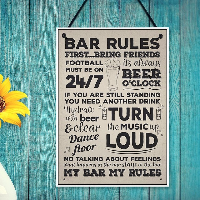 Meijiafei Bar Rules Hanging Plaque Alcohol Beer Pub Plaque Funny Man Cave Sign Birthday Wall