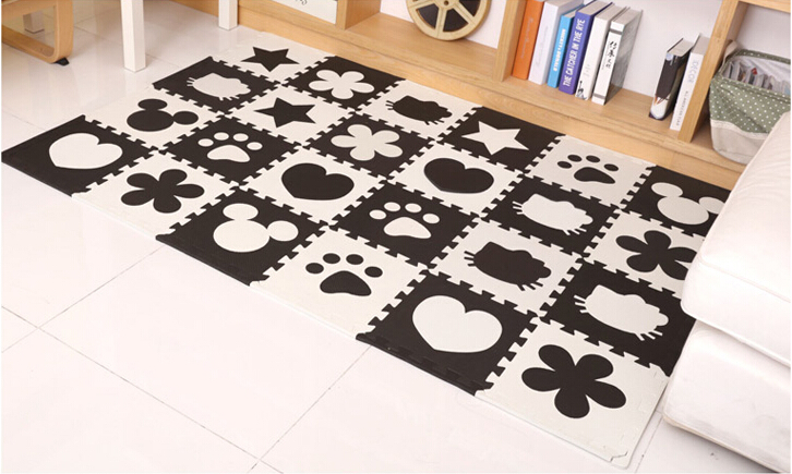 EVA Children's soft developing crawling rugs,baby play Block Batman/letter/Mickey foam mat Black White pad floor for baby games