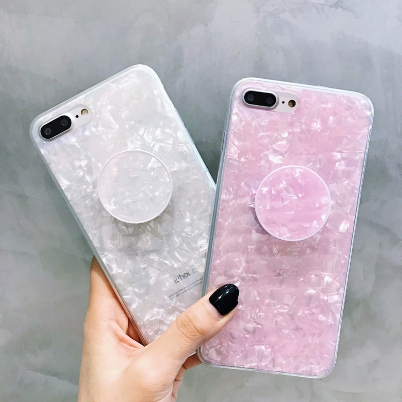 Round Marble Shell Mobile Phone Case For iphone 7 Cover 7 Plus Ring Holders Stands For iphone 8 8 Plus Cases For iphone X 6 6S mobile phone