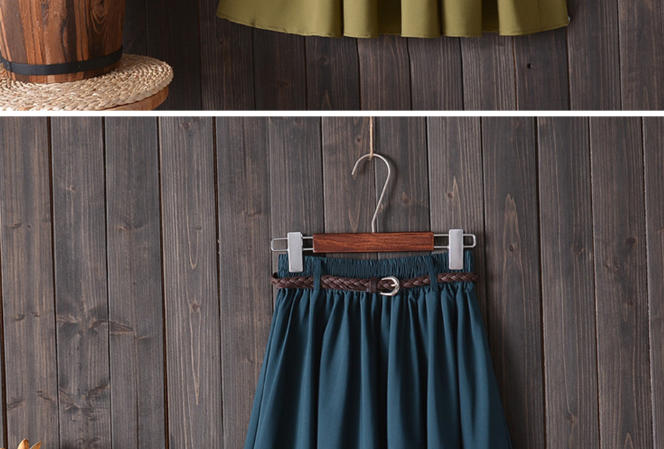 Surmiitro Midi Knee Length Summer Skirt Women With Belt 19 Fashion Korean Ladies High Waist Pleated A-line School Skirt Female 8