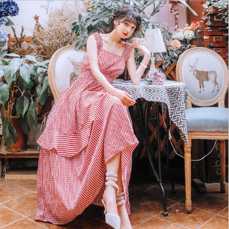 Plaid Print Long Dress Stretch Collect Waist Maxi Dress Spaghetti Strap Women Summer Sundress Vestidos