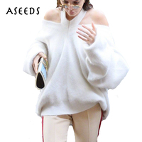 2018 Halter Knitted Off Shoulder Sweaters Women Pullovers Batwing Sleeve Warm Cashmere Sweater White Loose Female