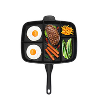 Wholesale Fryer Pan Non Stick 5 in 1 Fry Pan Divided Grill Fry Oven Meal Skillet 15 Black Drop Shipping