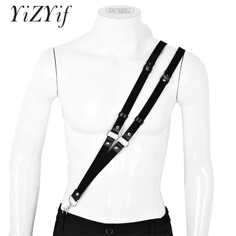 Mens Suspender Harness Belt Buckles O Rings Men's Adjustable  Single-Shoulder Braces Imitation Leather Shoulder Double Straps