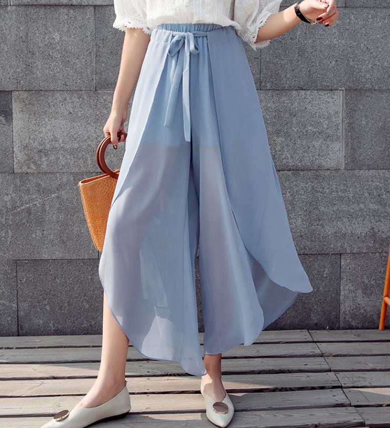 2019 New Women Wide Leg Pants Chiffon Tie Waist Pants Solid Color Chiffon Trousers High Waist Pants For Ladies 1964