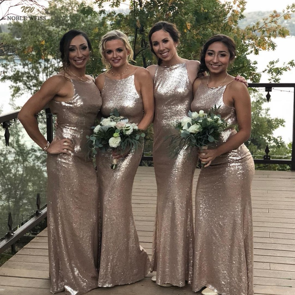 bridesmaid     dresses   2019 o-neck sequin wedding guest   dress   mermaid prom   dress   sexy floor length wedding party   dress