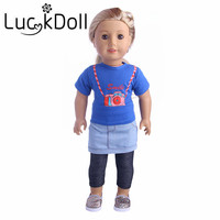 LUCK DOLL New Arrivals 1set T Shirt Tights Denim Skirt Fit 18 Inch American Girl Doll