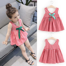 New Summer Baby Girls Dress Fashion Idyllic Dress Sling Sleeveless Cotton Dress Lovely Bowknot Birthday Party Princess Dress(China)