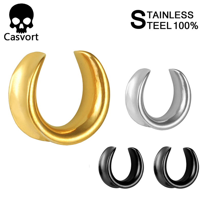 Casvort New Saddle Ear Tunnel Plug Piercing Ring Expander Studs Stretchers Fashion Body Piercing Jewelry Earrings Gift(China)