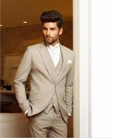 New Custom Made Beige Men Wedding Suits Custom Made Business Formal Suits 3 Piece Groom Tuxedos