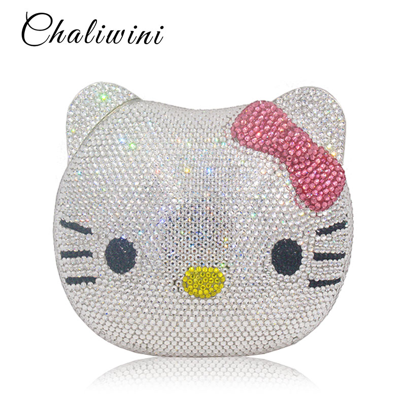 Lady Lovely Cartoon All Diamond Hasp White Clutch Bags For Women Handbags Purse Handbags Wallets Evening Wedding Evening Bag