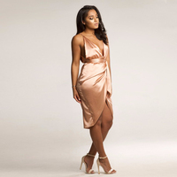 2018 New Orange Pink Color Satin wrap dress new women's spaghetti strap backless loose comfort dress