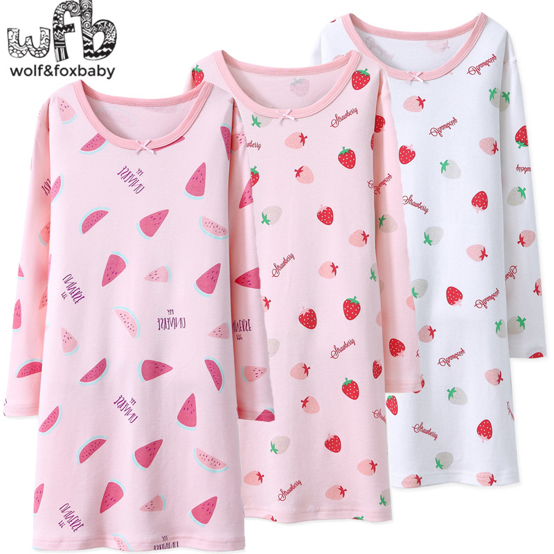 Retail 4-16 Years Long-sleeves Cotton Children's Home Wear Nightdress Girl Kids Pajamas Autumn Fall Spring Print Watermelon