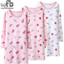 Varejo 4-16 anos de algodão de mangas compridas roupa de casa das crianças camisola menina crianças pijamas outono outono outono primavera impressão melancia