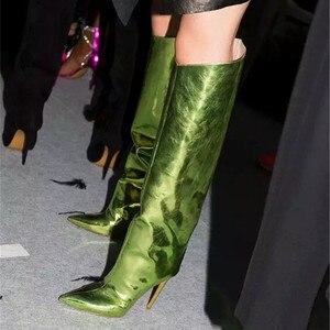 Image 5 - MStacchi מסלול נעלי עקב צבעים בוהקים מראה עור מתכתי מעל הברך נשים מגפי סופר עקבים גבוהים הברך גבוהה מגפי אישה
