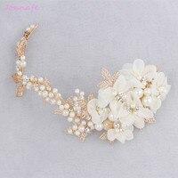 Jonnafe Handmade Ngà Flora Thái Headband Cưới Bridal Tóc Nho Phụ Kiện Phụ Nữ Vàng Lá Jewelry Mũ Sắt Tóc