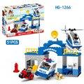 51 unids Police Headquarters Clásico Grandes Bloques de Construcción de Ladrillos Autoblocante Bloques Educativos Niños Juguetes Compatible Legoe Duploes