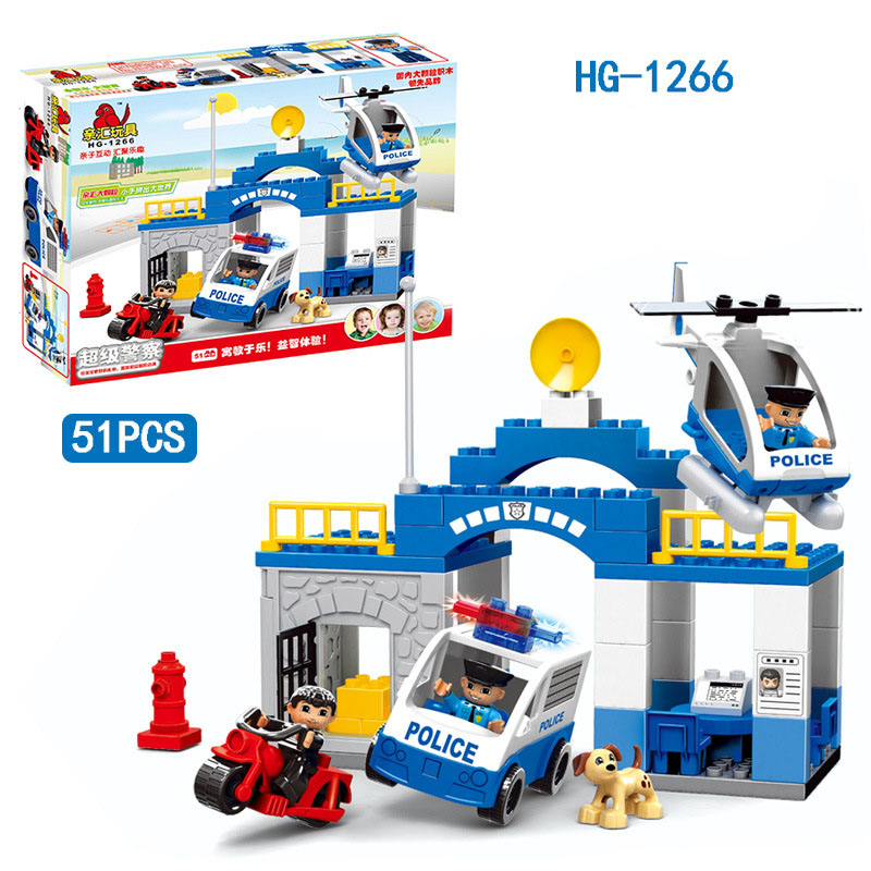 51pcs Police Headquarters Classic Big Building Blocks Self-Locking Bricks Block Educational Kids Toys Compatible Legoe Duploes 100pcd pack children snowflake match building blocks colorful self locking bricks 3 5cm big plastic blocks kids educational toys