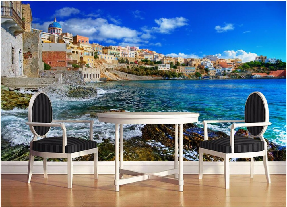 Custom mural photo 3d room wallpaper sea view coast building scenery decoration painting 3d wall murals wallpaper for walls 3 d