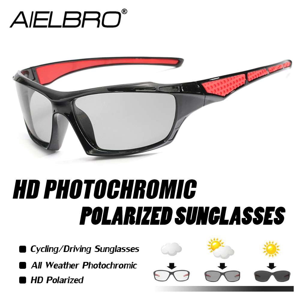 AIELBRO 2019 Outdoor Cycling Glasses Bike Goggles Bicycle Sunglasses Polarized Men Sport Sunglasses Gafas Ciclismo Photochromic