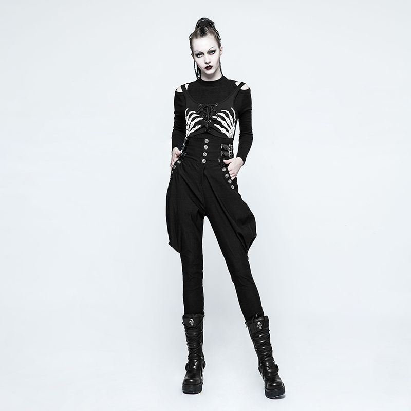 33c3d96daf PUNK RAVE Fashion steampunk Casual High Waist women Black Pants Handsome  Personality Riding Breeches pencil pants-in Pants & Capris from Women's  Clothing on ...
