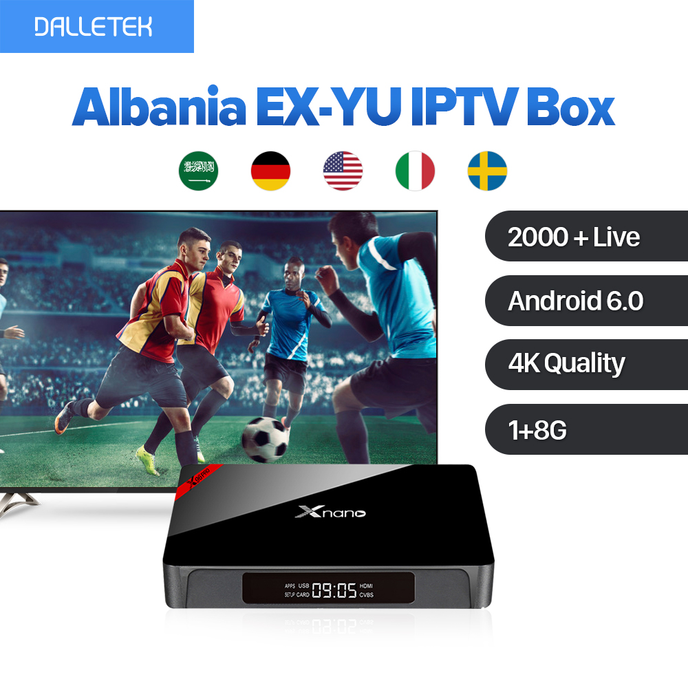 Xnano Europe Arabic French IPTV 2000 Channels 4K Movie Android 6.0 Smart TV Box IUDTV Subscription French Turkish UK IPTV Box