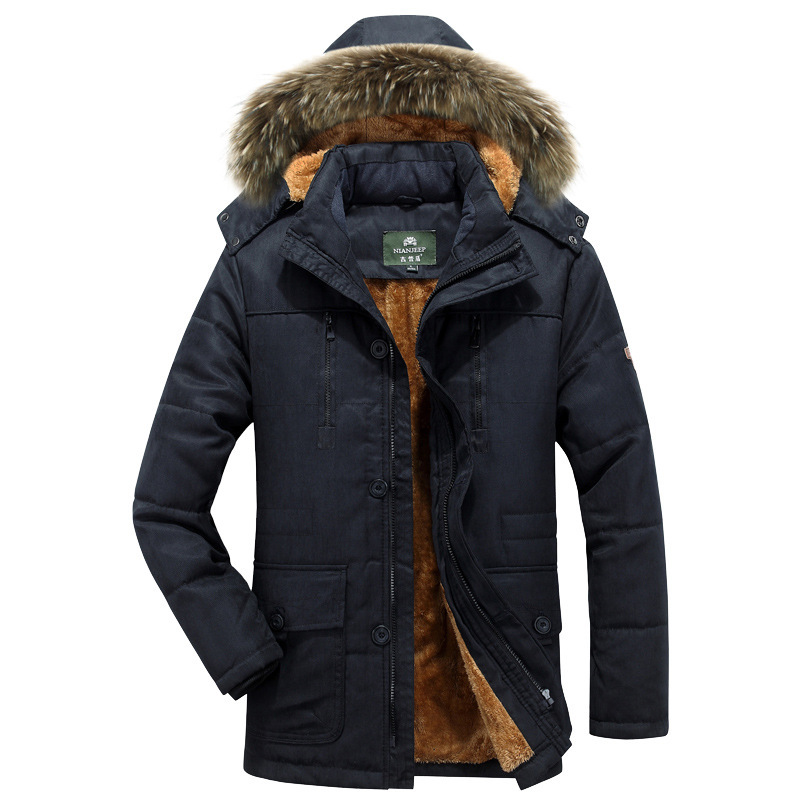 2018 new fashion adult clothing autumn and winter men's clothing plus fat large size cotton clothes long long fur collar