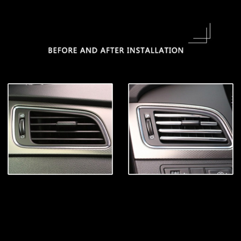 U Shape DIY Car-styling Interior Air Vent Grille Switch Rim Trim Outlet Decoration Strip Moulding Chrome Silver CZ