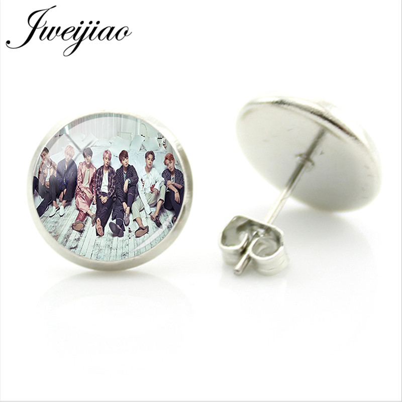 Jweijiao Trendy K Pop Bts Band Stud Earrings Al Photo Card Photocard Customized Gl