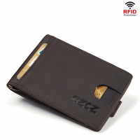 Genuine Crazy Horse Cowhide Leather Money Clips High Quality Rfid Wallets Fashion Mini Purses Vintage Men Wallet Walet