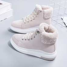 Women Boots Fashion Flock Women Winter Boots Lace-Up Breathable Flats Platform Women Snow Boots Warm Plush Ankle Boots(China)