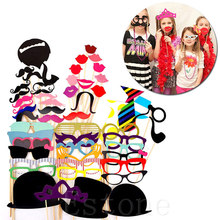 DIY 58 Pcs Photo Booth Happy Birthday Masks Hat Mustache Lip Photobooth Props Kid Wedding Party Favor Decoration