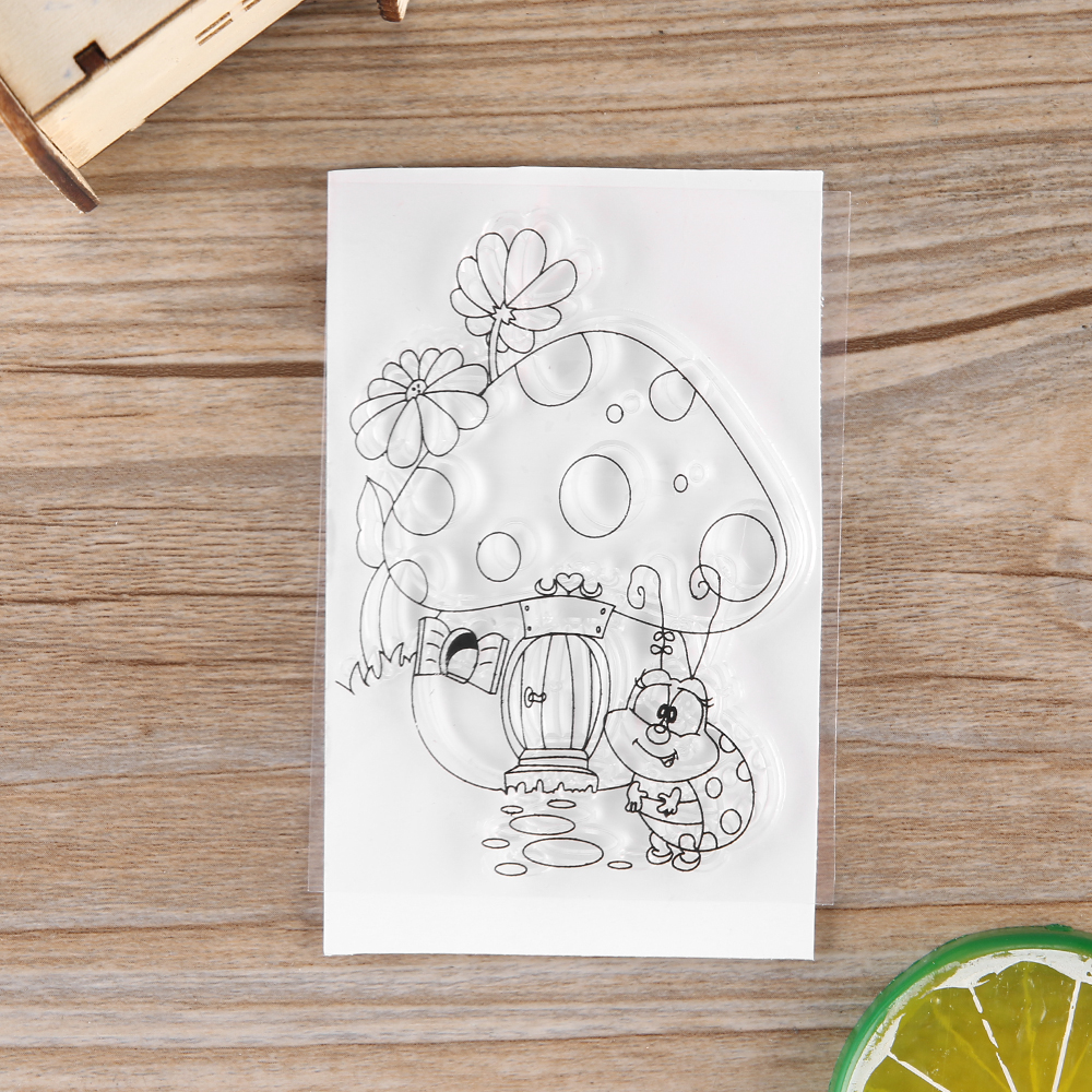 2018 New CuteMushroom House Frame Stamp Dies Clear Rubber Stamp Craft Stamp For Scrapbook Card Making Photo Album Gift Decorate