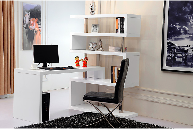 White Book Case Shelf Home Office Desk Computer