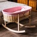 Material de protección del medio ambiente Portable niño recién nacido cuna de mimbre de madera mano vehículo cesta cesta cuna bebé mosquitera