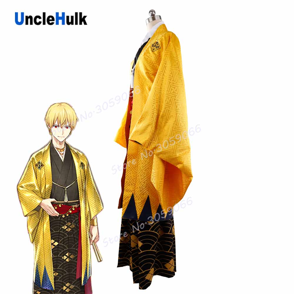 FGO Fate Grand Order Gilgamesh Cosplay Costume Yellow Kimono Suit Set | UncleHulk